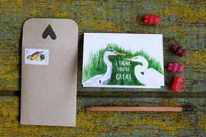 I think you're GREAT! Great Blue Heron and Great Egret Card
