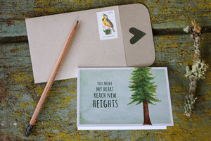 You Make My Heart Reach New Heights! Redwood Love Card