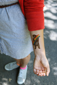 California Pride: Two Temporary Tattoos, Rainbow California Grizzly