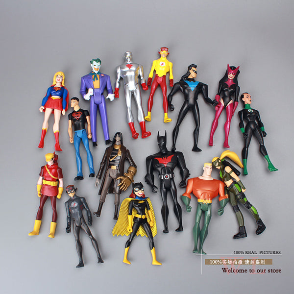 DC Comics Super Hero Superman Green Lantern The Flash The Atom Black Canary PVC Action Figures Collection Model Toys 15pcs/set
