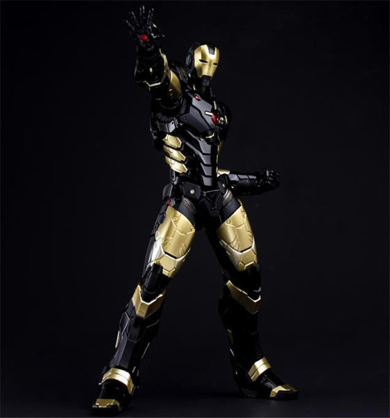 HC Iron Man Mark MK 42 BLACK GOLD with LED Light PVC Action Figure Collectible Model Toy 28cm