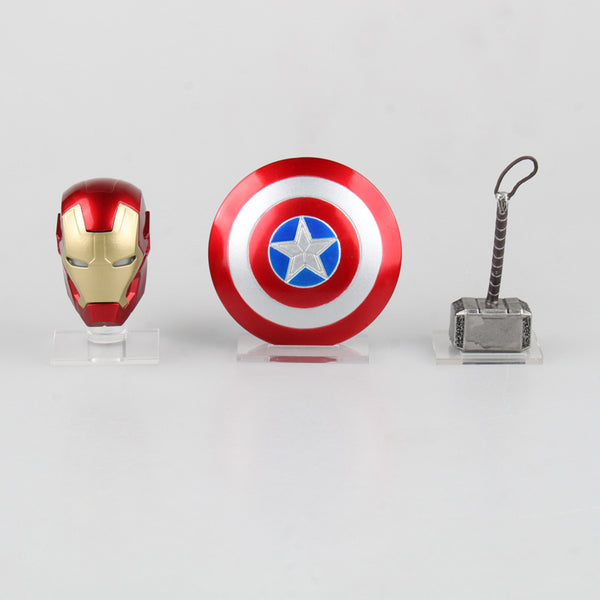 Avengers Super hero  Weapons Captain America Shield + Iron Man Helmet + Thor Hammer Figures Model Toys with LED Light Set