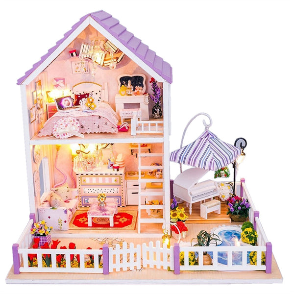DIY Wooden Dolls House Purple