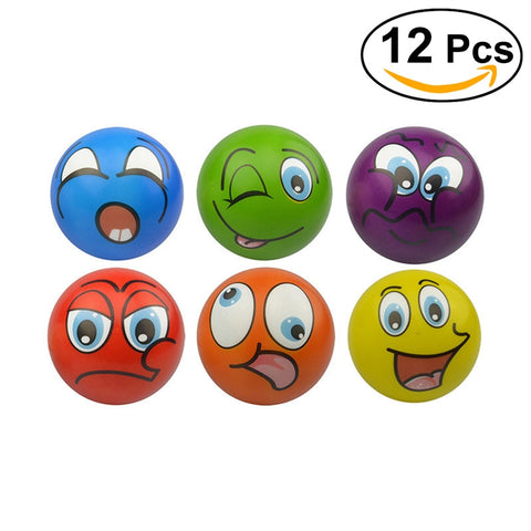 12 Pcs Funny Face Squeeze Ball Stress Relief