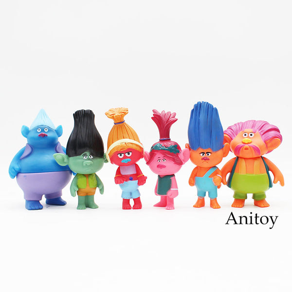6pcs Movie Trolls Poppy Branch Biggie  Figurines