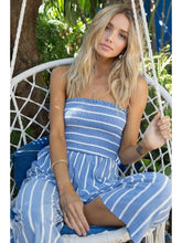 Load image into Gallery viewer, THE RACHEL SMOCKING STRIPED CROPPED JUMPSUIT - denim blue