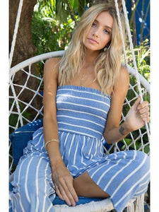 THE RACHEL SMOCKING STRIPED CROPPED JUMPSUIT - denim blue