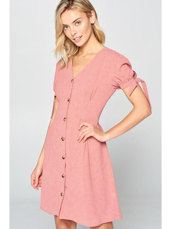 THE ALLIE SHORT SLEEVE BUTTON DOWN DRESS - 2 colors