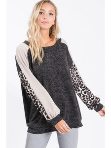 THE KATHY SWEATER KNIT COLOR BLOCK SLEEVES