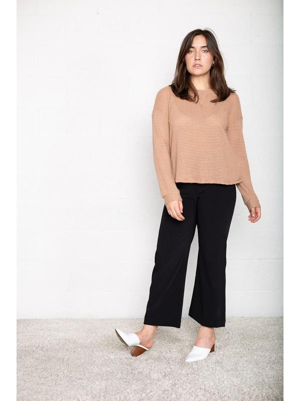 THE LORI WAFFLE KNIT TOP - 2 colors