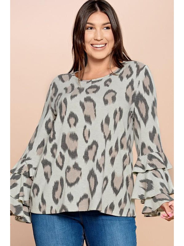 THE TRISH LEOPARD PRINTED BRUSH KNIT TOP