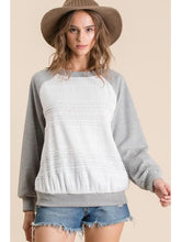 Load image into Gallery viewer, THE JEN TWO TONE KNIT LACE TRIM RAGLAN TOP