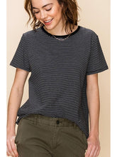 Load image into Gallery viewer, THE SARAH BLACK & WHITE PINSTRIPE TEE