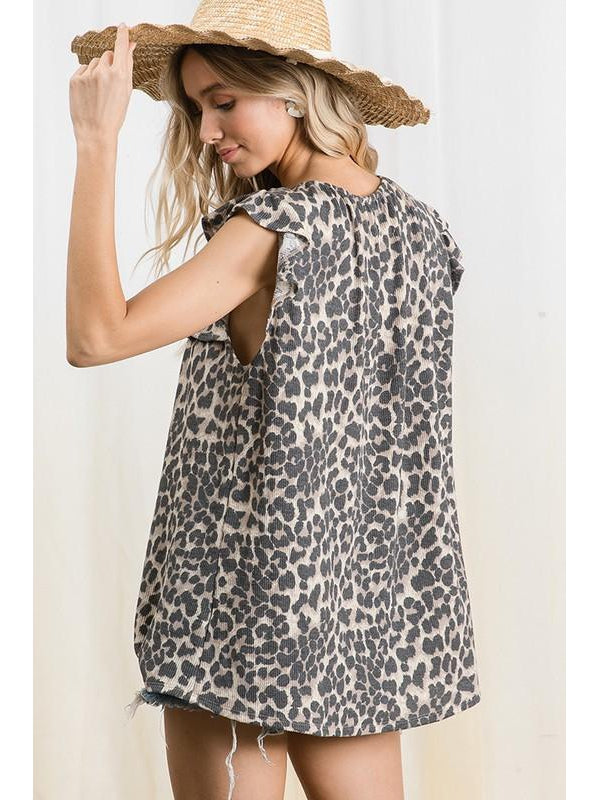 THE EMMY SHIRRING ANIMAL PRINT SLEEVELESS TOP
