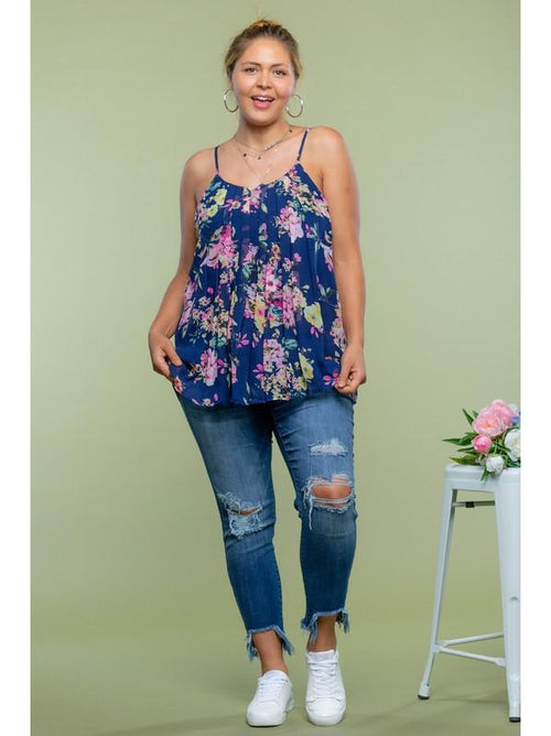 THE DANA PLEATED FLORAL TANK - blue