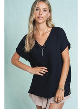 Load image into Gallery viewer, THE GAIL RAW HEM COTTON V NECK TOP