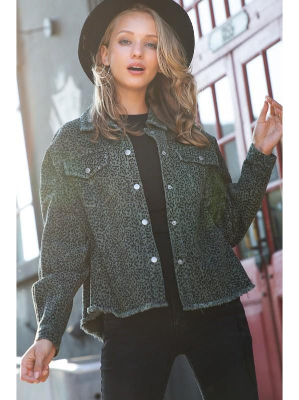 THE CINDI OLIVE ANIMAL PRINT DENIM SHIRT JACKET