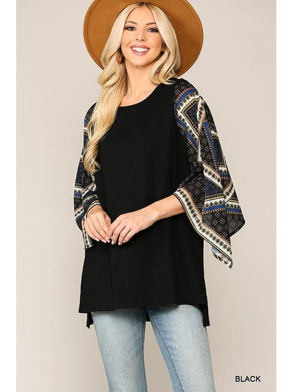 THE SARAH BOHO DIAGONAL SLEEVE TOP
