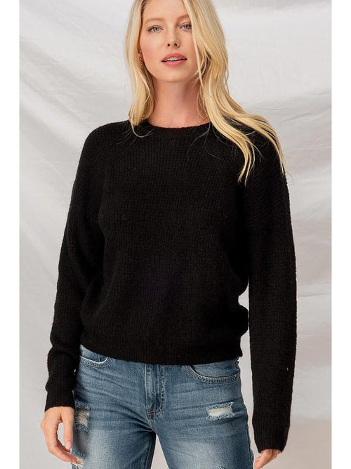 THE JUSTINE WAFFLE KNIT RAGLAN SWEATERS - 2 colors
