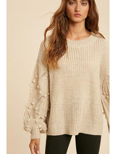 Load image into Gallery viewer, THE MILA POM BALLOON SLEEVE SWEATER