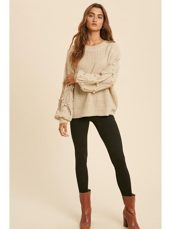 THE MILA POM BALLOON SLEEVE SWEATER