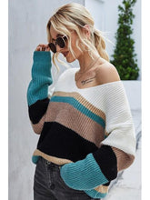 Load image into Gallery viewer, THE NICOLE STRIPED V NECK SWEATER - 2 colors