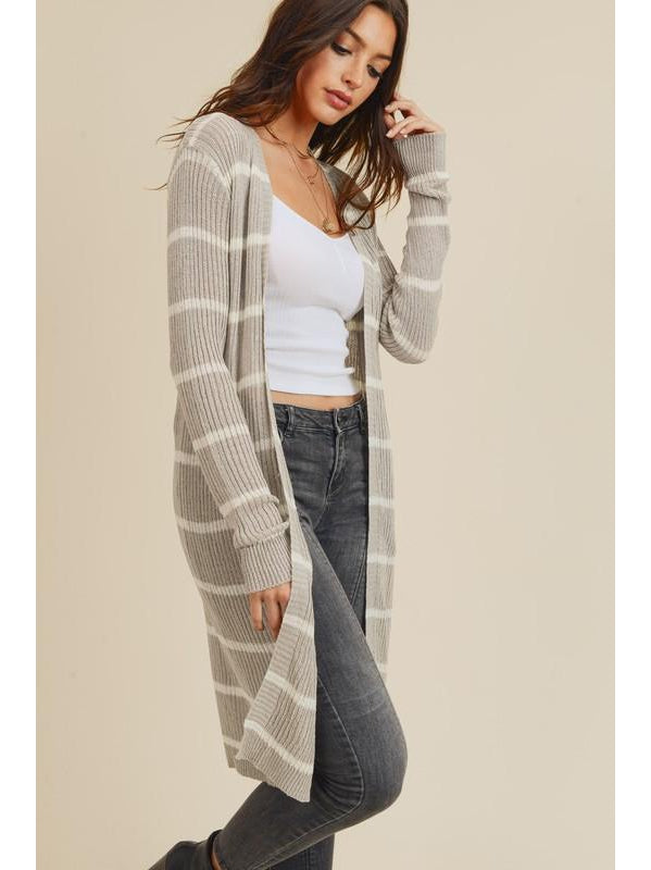 THE BELLA DUSTER STRIPED CARDIGANS - 4 colors