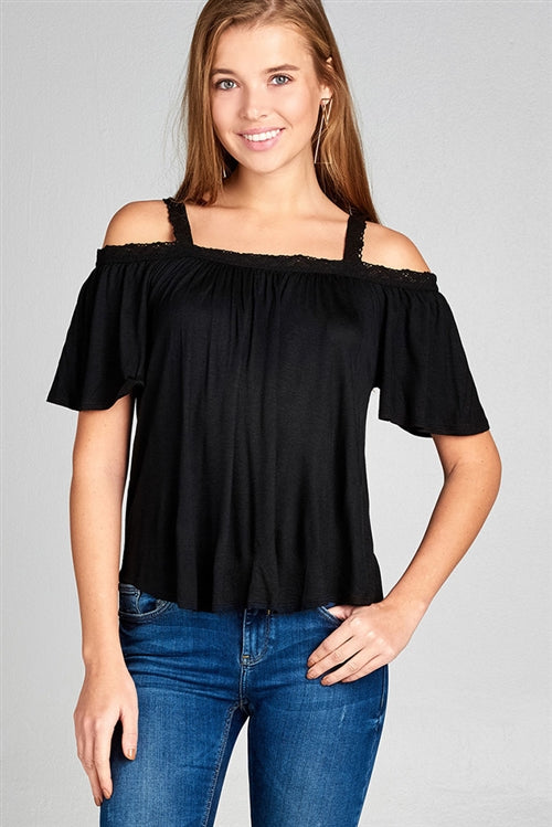Off the shoulder with lace strap top