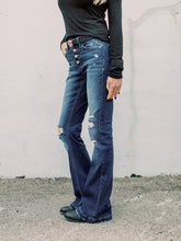 Load image into Gallery viewer, THE DREW MID RISE BUTTON FLY FLARE DISTRESSED DENIM