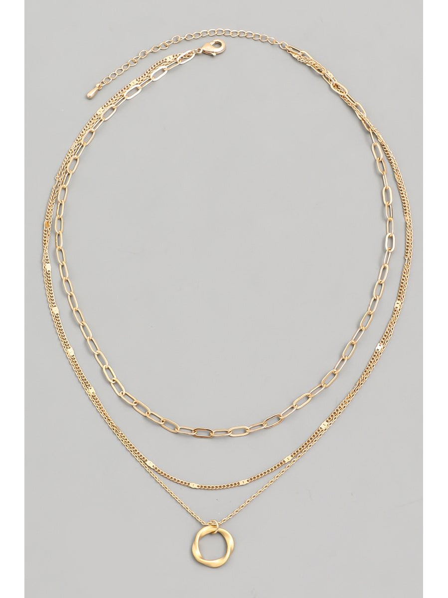 LAYERED CHAIN RING CHARM NECKLACE