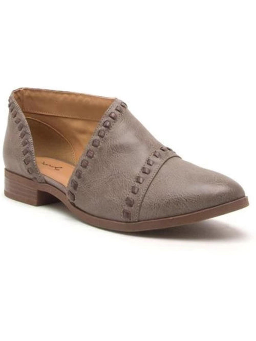THE TUXEDO OPEN SIDE SHOE - taupe