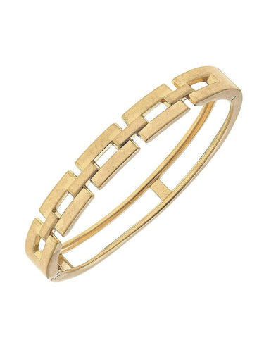 Quinn Chain Link Hinge Bangle in Worn Gold