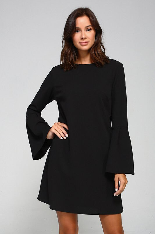 SOLID KNIT TRUMPET BELL SLEEVE SHIFT DRESS