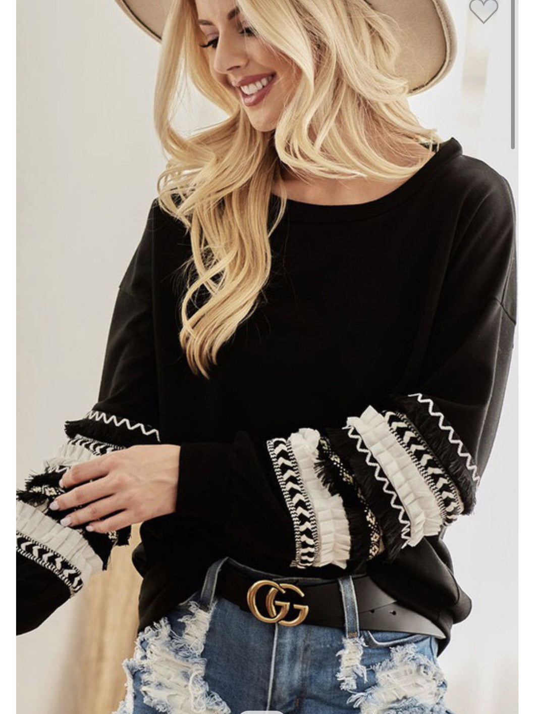 THE DAKOTA JAQUARD RUFFLE SLEEVE TOP