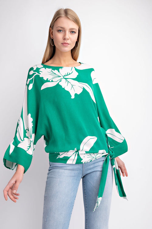 THE DONNA LEAF PRINT KNOTTED BLOUSE