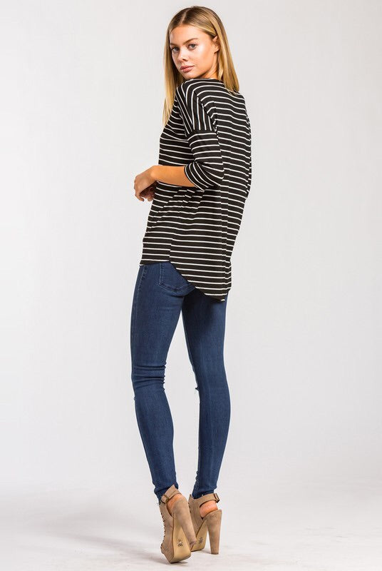 STRIPED CRISSCROSS NECK TOP
