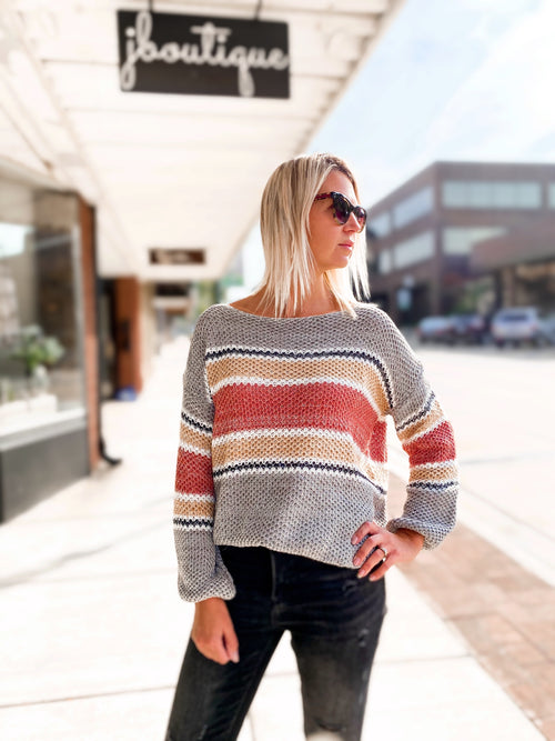 THE HILARY RIBBED KNIT COLOR BLOCK SWEATER