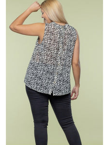 THE MEGAN ANIMAL PRINT SLEEVELESS BLOUSE