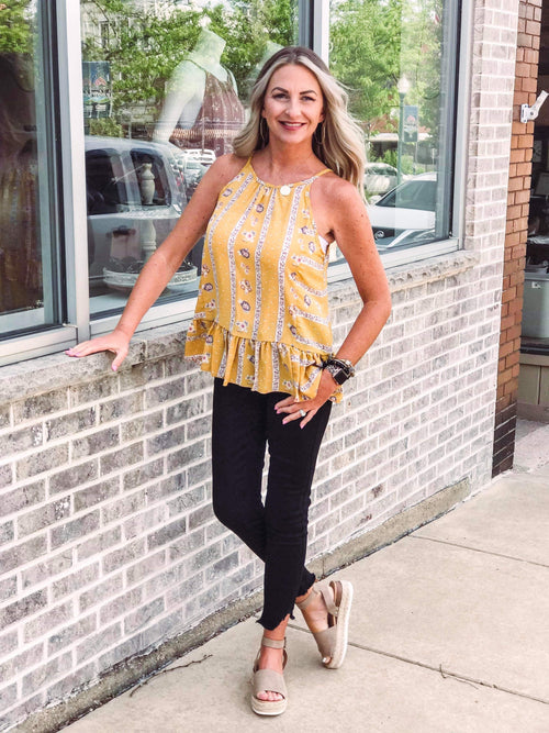 THE ROSE RUFFLE BLOUSE- MUSTARD