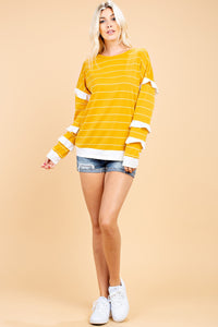 STRIPED RUFFLE SLEEVES TOP- MUSTARD