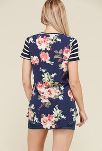 FLORAL POCKET TUNIC - navy stripe