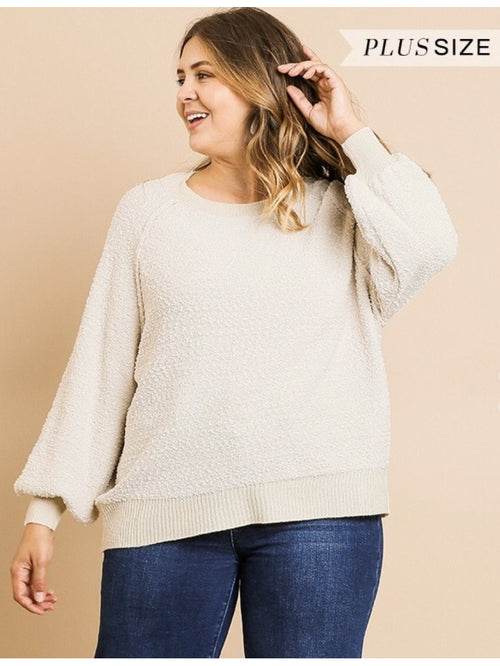 THE CORA PUFF SLEEVE SWEATER - ivory