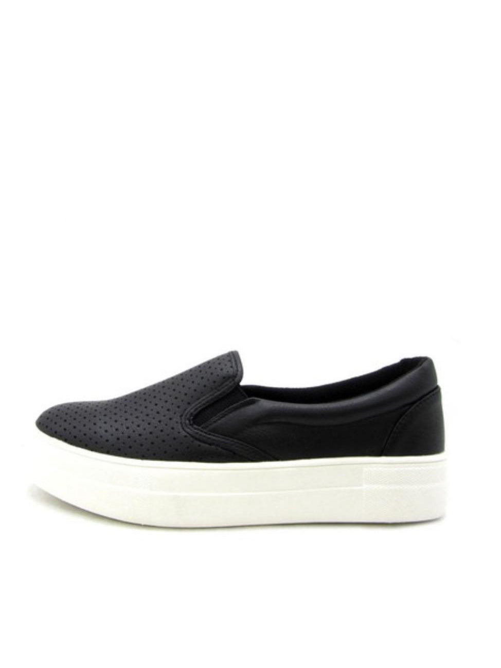 THE SODA PREFORATED SLIP ON SNEAKERS - BLACK