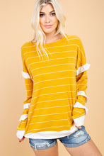 Load image into Gallery viewer, STRIPED RUFFLE SLEEVES TOP- MUSTARD