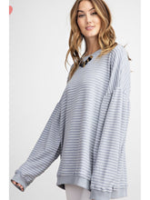 Load image into Gallery viewer, THE JESS DROP SHOULDER STRIPED SWEATSHIRT - grey/blue