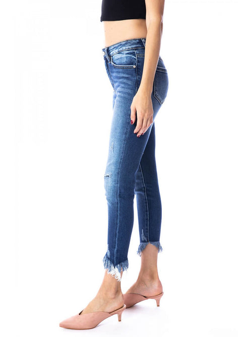 THE GRACE PATCHED FRAY BOTTOM DENIM