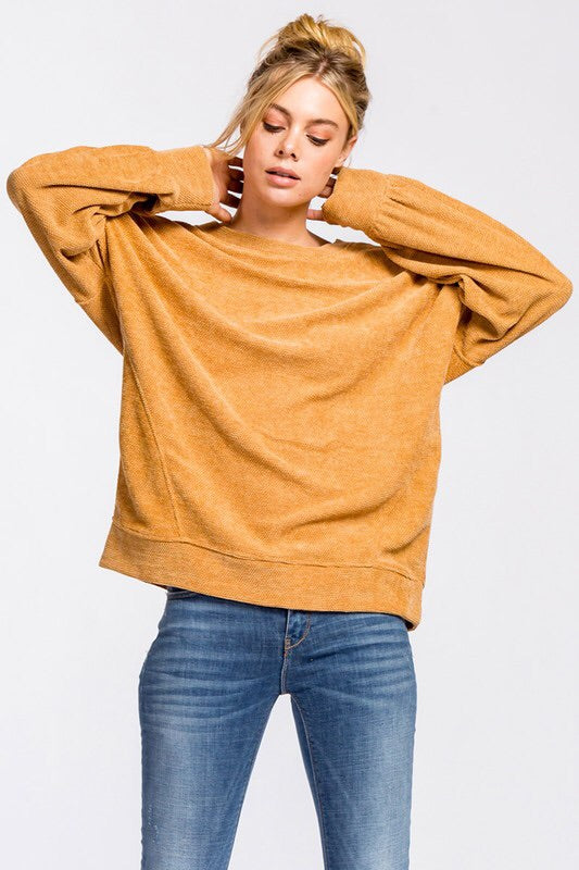 SOFT CHENILLE FEEL SWEATSHIRT - 2 colors
