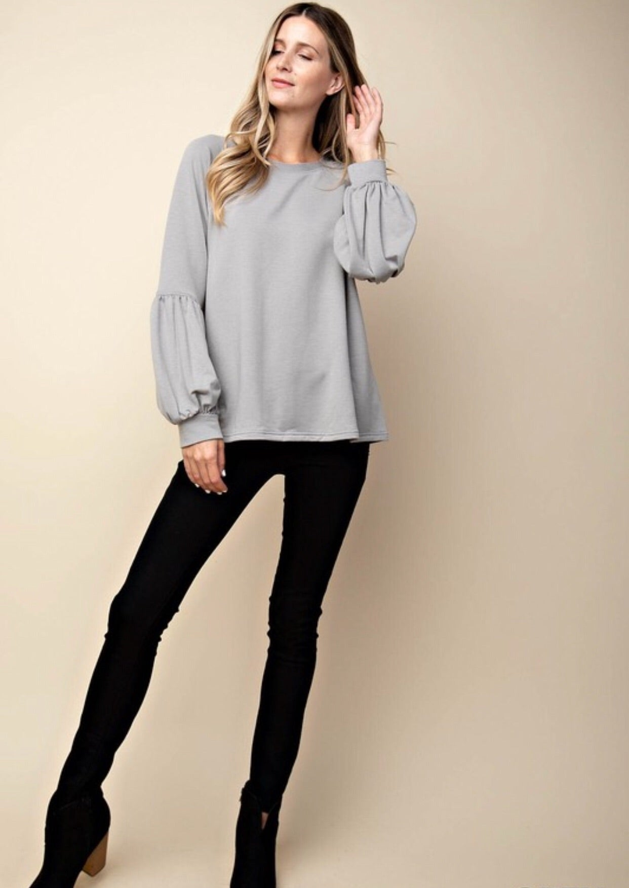 PUFFY BALLOON SLEEVE FRENCH TERRY TOP - GREY