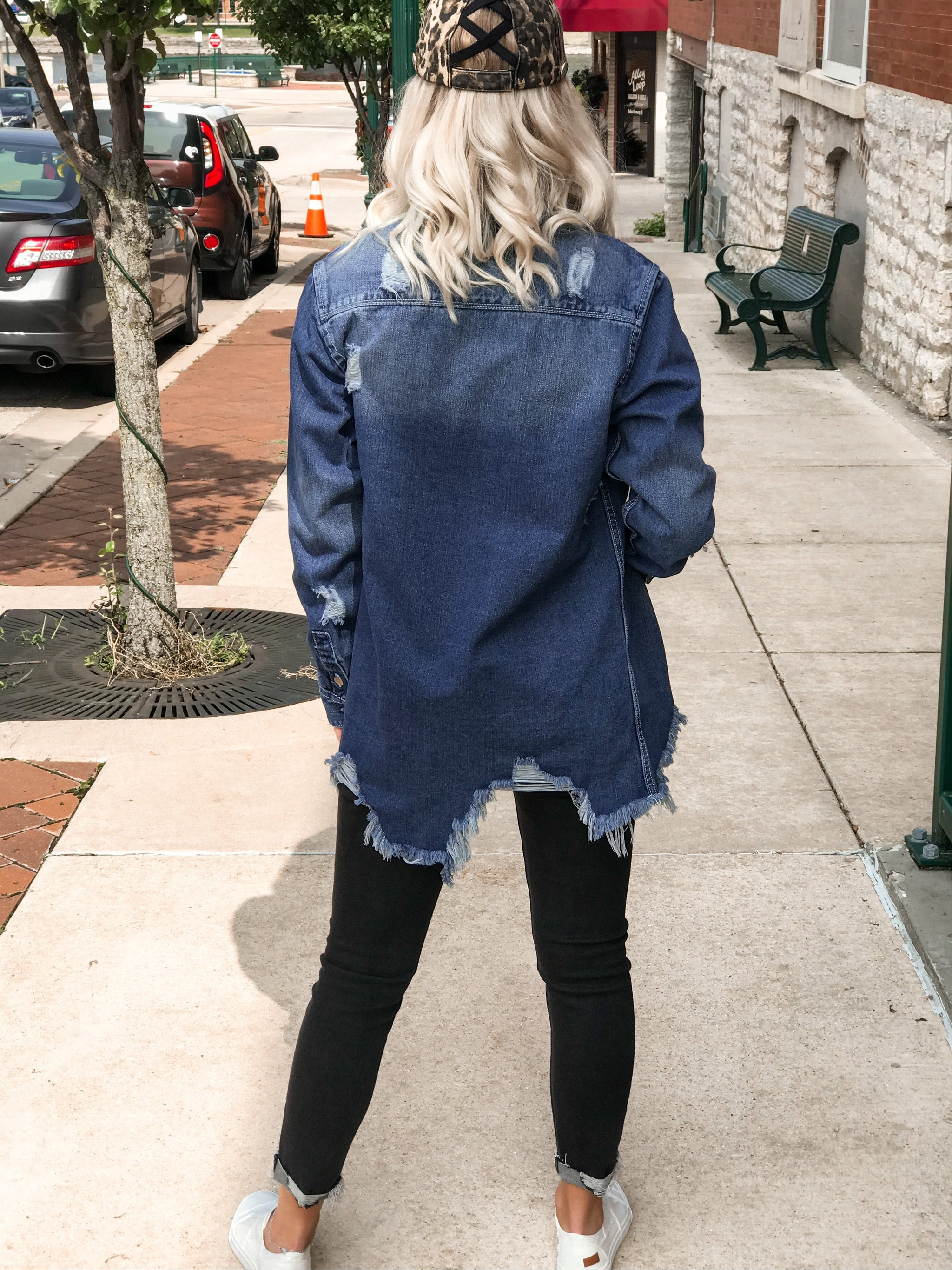 THE KELLI SUPER DISTRESSED DENIM SHIRT JACKET