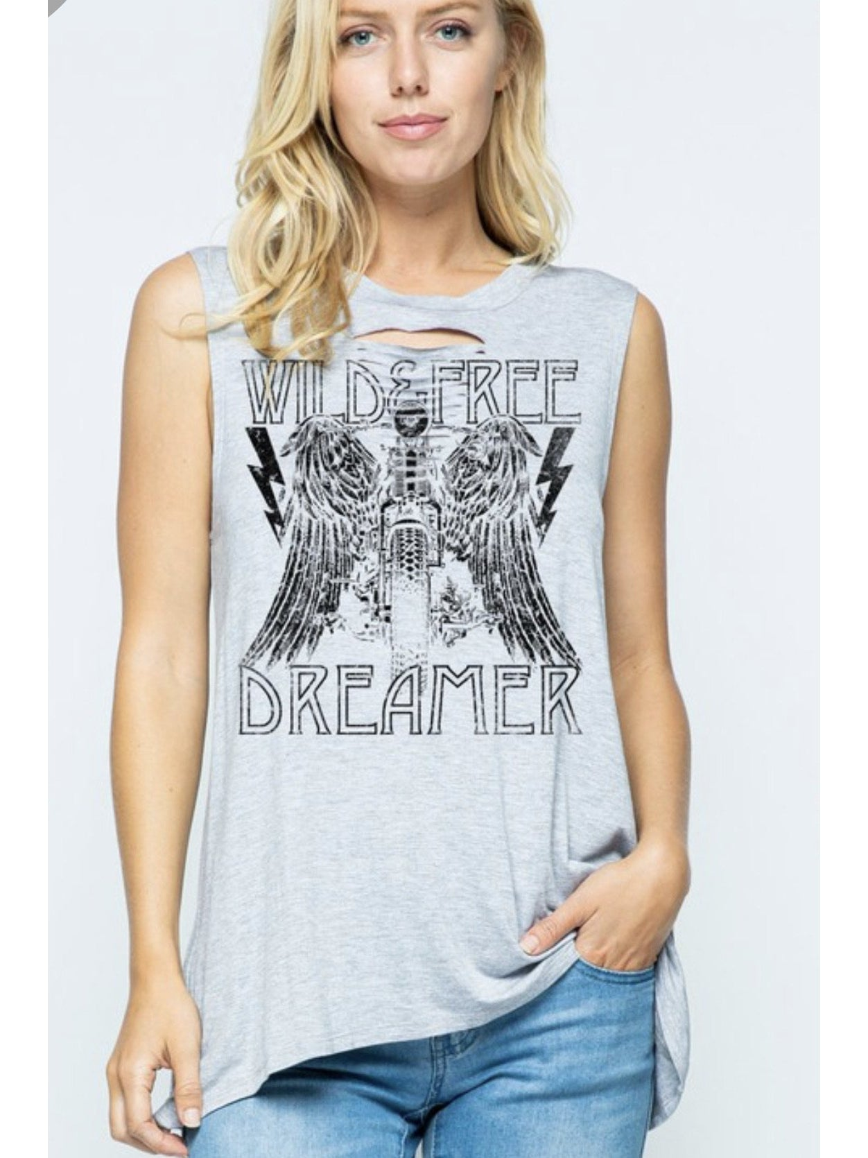 WILD AND FREE DREAMER DISTRESSED TANK
